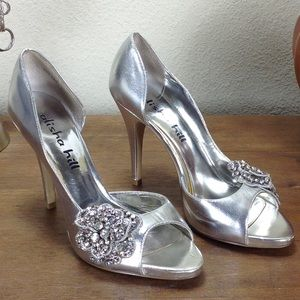 Alisha Hill Silver Leather Embellished Hee…